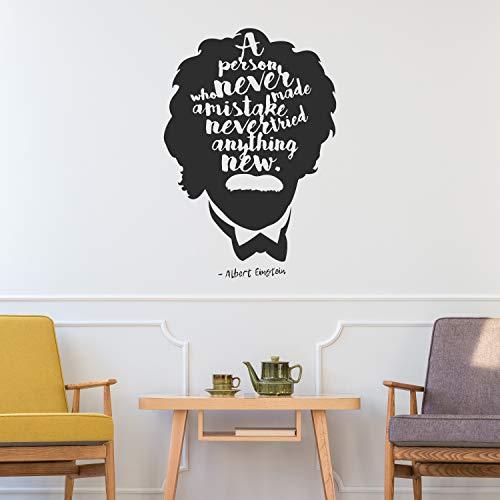 Adhesivo decorativo para pared de Albert Einstein con cita de vinilo de estilo moderno, decoración para habitación de los niños, color crema 48 x 71 pulgadas