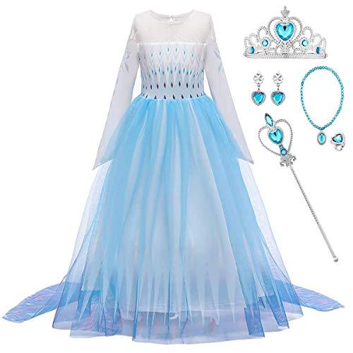 O.AMBW Vestito da Principessa Elsa Costume Regina del Ghiaccio delle Nevi Abito Accessori per Compleanno Natale Carnevale Cosplay Halloween Festa Abiti