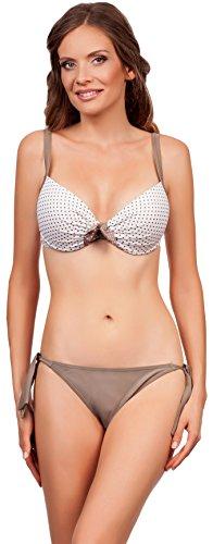 LORIN Damen Bikini Cher LO5355 (Beige/Weiß, Cup 75 B/Unterteil 38)