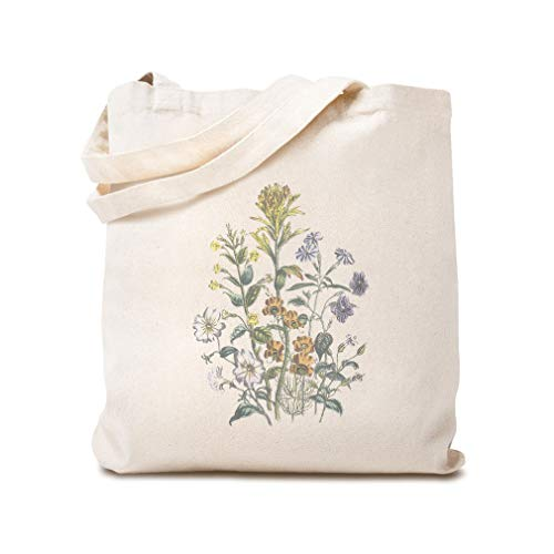 Custom Canvas Tote Shopping Bag Browallia Mimulus Beautiful Flowers Botanical & Browallia Mimulus Reusable Beach Bags for Women Flowers Gifts Natural Design Only
