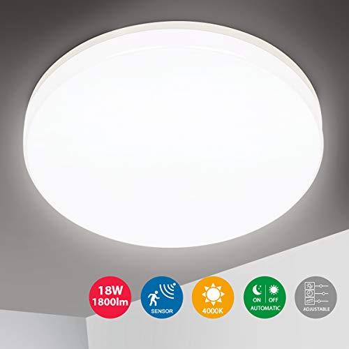 Oeegoo LED Deckenleuchte mit Bewegungsmelder, 18W 1800LM Sensor lampe (Einstellbar), IP44 Deckenlampe mit Bewegungssensor für Diele, Garage, Kellerräume, Flur, Eingangsbereich, Badezimmer 4000K