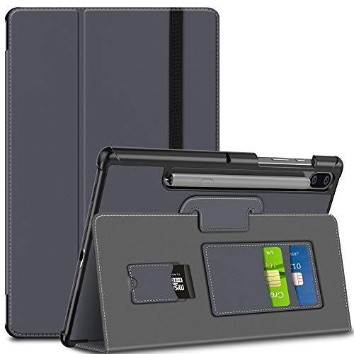 ELTD Hülle für Samsung Galaxy Tab S6 10.5,Ultra Lightweight Flip mit Ständer PU Leder Schutzhülle für Samsung Galaxy Tab S6 SM-T860/T865 10.5 Zoll 2019 (Grau-03)
