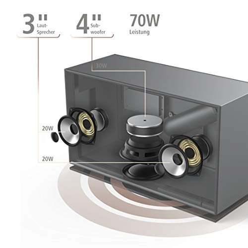 Hama DAB+ Internetradio 2.1 Soundsystem (Smart Radio mit WLAN/Digitalradio/Bluetooth/USB/AUX/Spotify/Amazon Music/Streaming, Multiroom,Subwoofer, 70 W, Farbdisplay, Fernbedienung/App-Steuerung)