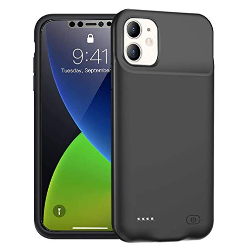 Battery Case for iPhone 12 Mini, 6000mAh Portable Protective Charging Case Compatible with iPhone 12 Mini (5.4 inch) Rechargeable Extended Battery Charger Case (Black)