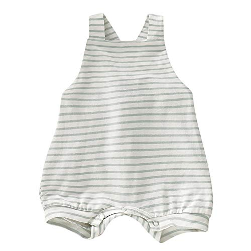 Pudcoco Newborn Baby Boys Girls Sleeveless Romper Striped Straps Overall Shorts Cross Back Bodysuit (3-6M, Beige Stripe)