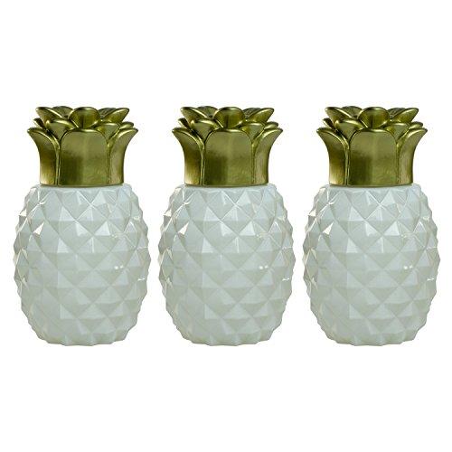 TIKI Brand Pineapple Glass Table Torch, White (Set of 3)
