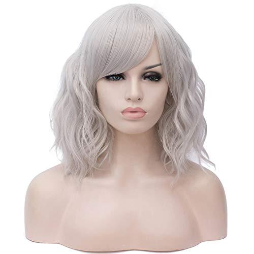 MAJFK Pelucas para mujer largas con flecos, peluca sintética ondulada, pelucas sintéticas resistentes al calor, gris plateado (Sw2438/F10)