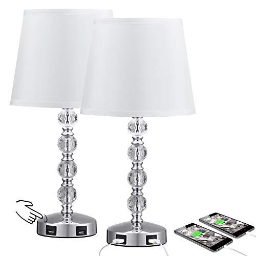 Touch Control 3 Way Dimmable Cute Crystal Table Lamp with 2 USB Charging Ports, Acaxin 17Inch Bedside Light with Modern White Shade, Small Bed Lamp for Bedroom, Living Room, Guest Room(Bulb Included)