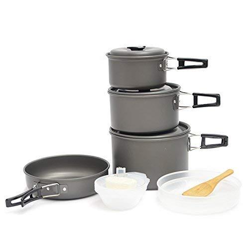 XHLLX Kit De Utensilios De Cocina para Acampar, 4-5 Personas Mochila De Aluminio Cocina Picnic Bowl Pot SART Set con Sporork & Mess Bag