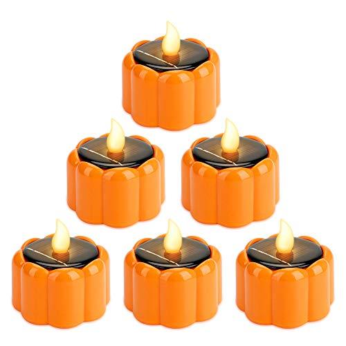 LED Kerzen Welltop 6 Stück Solar Kerzen Außen Interior Solar Teelichter Wasserdicht Flammenlose Kerzen Solarleuchte Teelichter Nachtlicht für Halloween Partei Hochzeit Festival Dekoration