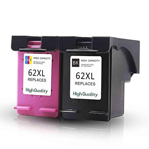 KIT 2 CARTUCCE COMPATIBILI PER HP 62 XL NERO + COLORE STAMPANTE DESKJET 5640 5600 5644 7600