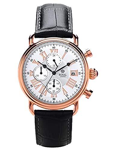 Royal London Herren Chronograph 44 MM mit Kroko Look Lederband 41249-05
