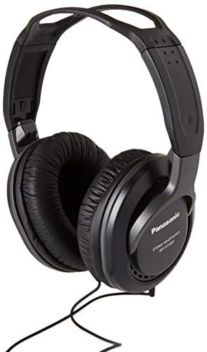 Panasonic RP-HT 265 E-K Kopfhörer (5 m langes Kabel, 3,5 mm Stecker und 6,3 mm Adapter, Lautstärkeregler) schwarz