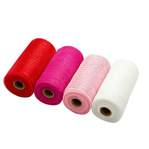 LaRibbons Deco Poly-Mesh-Band – 15,2 cm x 9,1 m pro Rolle – Metallfolie Rot/Pink/Fuchsia/Weiß Set für Kränze, Girlanden und Dekorieren – 4 Stück