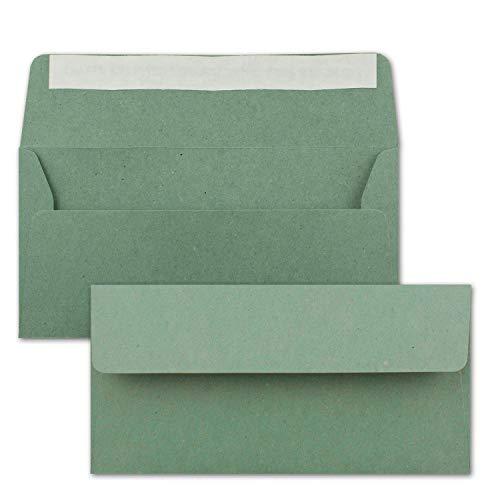 50x Kraftpapier-Umschläge DIN Lang - Eukalyptus-Grün - Haftklebung 11 x 22 cm - Brief-Umschläge aus Recycling-Papier - Vintage Kuverts von NEUSER PAPIER