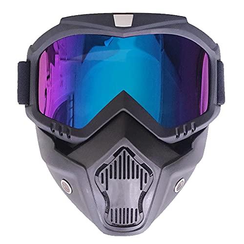 XINYIND Máscara De Motocross Con Máscara Extraíble y Filtro Boca Estilo Harley Casco Equitación Gafas De Sol Regalo De San Valentín Para Casco Abierto Motocross Ski Snowboard - Lentes de Colores