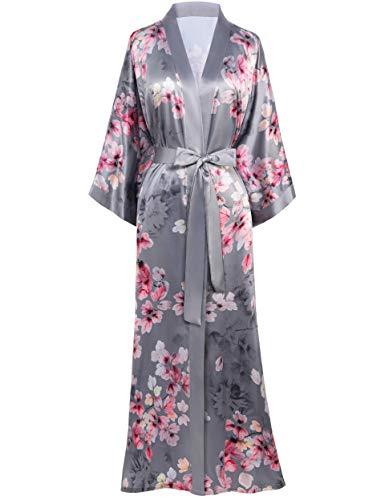 BABEYOND - Bata larga de satén para mujer, para verano, kimono, estampado de flores, albornoz, quimono, para mujer, larga, con flores, bata para dormir, para fiestas de pijama, gris, talla única/L