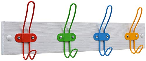 Tibres - Kids Coat Hook Rack for Boys and Girls for Jackets Clothes Hats Backpacks Robes and Towels - Kids Hanger for Use in Nursery Bedroom and Bathroom - Safe Colorful Wire Hooks and White Rail