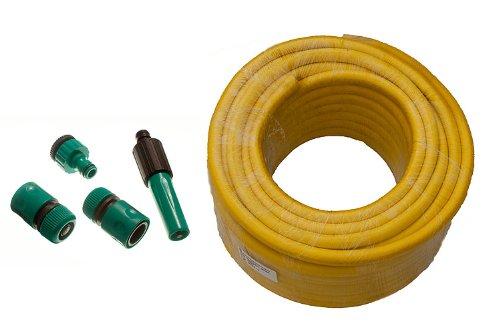 Yellow Garden Hose Pipe braded Pro Anti Kink Longueur 40M alésage 12mm + Fittings