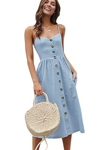 OMZIN Vestido de fiesta para mujer Boho impreso vestido de verano Swing Floral vestido de noche XS-XXL