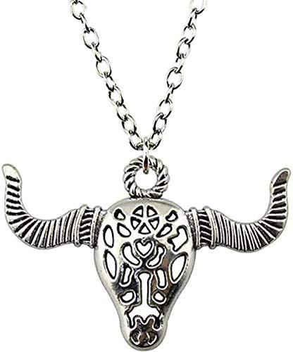 YOUZYHG co.,ltd Halskette Schmuck Halskette für Frauen Antik Antik Silber Farbe Ngau Tau Anhänger Halskette Frau Geschenk Vintage Geschenk