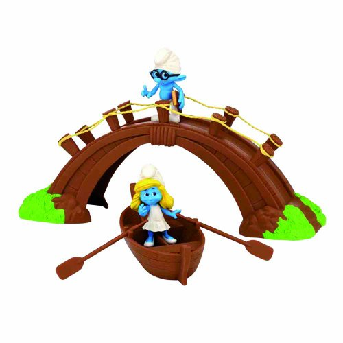 Giochi Preziosi–gpf2372–Mini Cofanetto I Puffi–Il Villaggio dei puffi–Ponte e Barca + Puffo Grognon