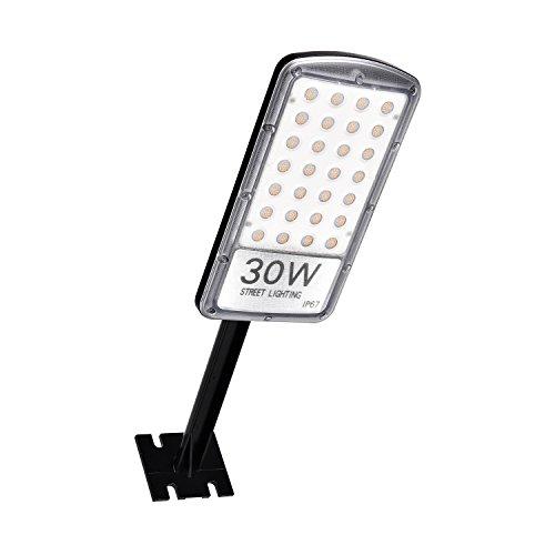 Papasbox LED Straßenlaterne, 30W Straßenlampe Straßenleuchte 3000LM Aussenleuchte Mastleuchte Lampe Hofbeleuchtung IP67 Warmweiß 3000K Wegeleuchten Sicherheits Wand Licht