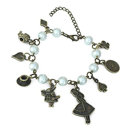 Orion Creations Alice Charm Armband. Messing Ton. Uhr, March Hare, Alice und Verschiedene Anhänger mit weißer Perlen-Beads