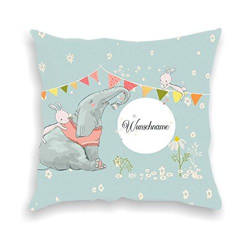 wolga-kreativ Kissen-bezug Deko-Kissen Elefant Hase 40x40 cm incl. Füllung Namenskissen Geschenk-e Baby-Kissen Kinder-Kissen Kinderzimmer Babyzimmer Mädchen Junge-n mit Namen (flauschig)