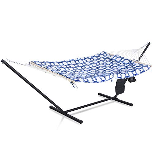 SUNCREAT Cotton Rope Hammock for Two People with Thick Hardwood Spreader Bars, Quilted Fabric Pad & Detachable Pillow, Extra Large Indoor/Outdoor Hammock with 12 FT Steel Stand, Ipad Bag & Cup Holder