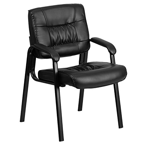 Flash Furniture Leather Side Chair, Black LeatherSoft/Black Frame