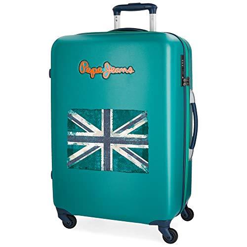 Koffer middelgrote Pepe Jeans Bristol groen met vaste vlag 67 cm