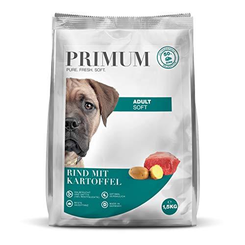 Primum | 1,5 kg | Halbfeuchtes Trockenfutter für Hunde | getreidefrei | Soft Rind mit Kartoffel | Extra viel Fleisch | Optimal verdaulich | Herstellung in Deutschland