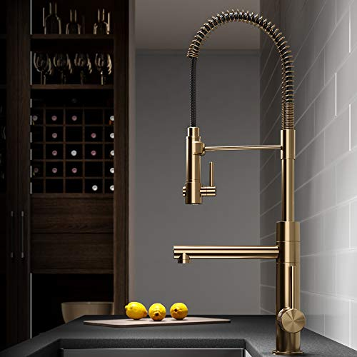 Kraus KPF-1603BG Artec Pro 2-Function Commercial Style Pre-Rinse Kitchen Faucet with Pull-Down Spring Spout and Pot Filler, 24.75 Inch, Brushed Gold
