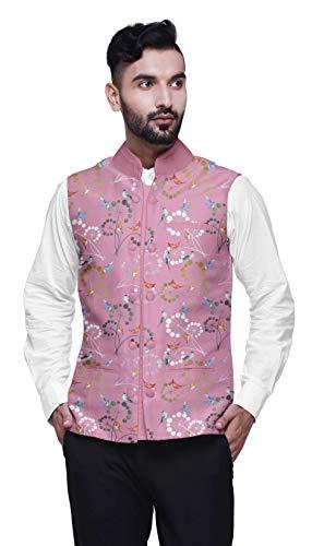 Atasi Vogel Gedruckte Hochzeit Jacken für Männer Nehru Jacke Taille Mantel für Hochzeit und festlichen Jahreszeit-Large