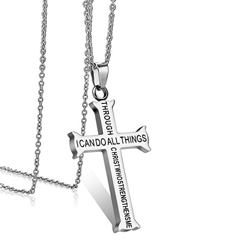 iJuqi Stainless Steel Cross Pendant Necklace - Philippians 4:13 Bible Verse Stainless Steel Cross Pendant Necklace for Men Women (Philippians 4:13)