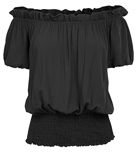 Womens Peasant Blouse Renaissance Smocked Waist Boho Tops T Shirts 2XL Black