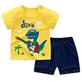 TiaoBug Baby Kleidung Set Sommer T-Shirts Shirts mit Bär Aufdruck + Gemusterte Freizeit Shorts Kurze Hose Pants Strandkleidung Gelb Dino 80-86