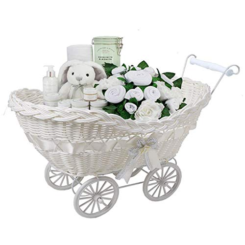 SAFRI Baby Pram Basket Wicker Gifts Stoarge Hamper White Natural New Born Baby Showers Christmas Xmas Gift for boys & Girls