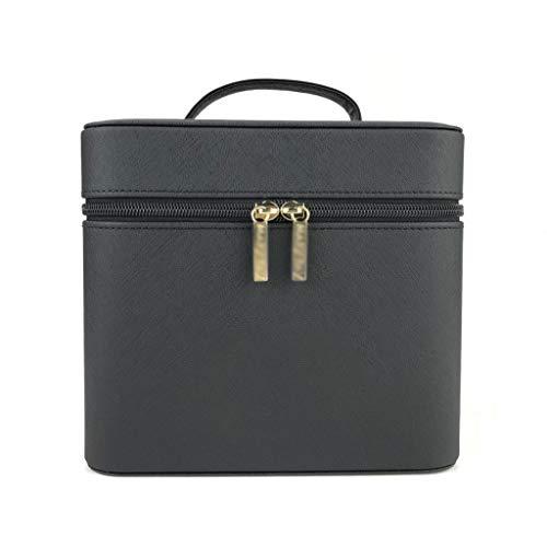 Grande boîte de Rangement portative de Dames de Cas portatif de Grande capacité de stéréo de stéréotypes Noirs (Color : Black, Taille : 20.5 * 18 * 18cm)