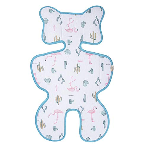 Bebamour Baby Stroller Cool Seat Mat Breathable Cool Cushion Liner for Stroller Car Seat High Chair Pushchair (White Flamingo)
