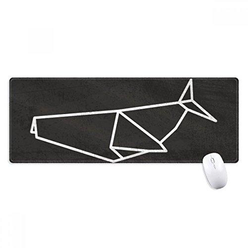 Abstract Origami haai geometrische vorm anti-slip muismat grote uitgebreide spel kantoor getiteld randen Computer Mat Gift