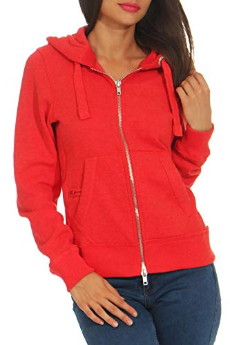 Mivaro Damen Sweatjacke mit Kapuze im Vintage Look   Zip Hoodie Kapuzenjacke   Basic Einfarbig, Größe:L, Farbe:Rot