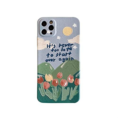YLFC Custodia per Telefono retrò con Fiori Dolci Tulipani Pittura A Olio per iPhone 12 11 PRO Max XR XS Max 7 8 Plus 12 Mini 7Plus Custodia Cover Carina (Color : A, Size : for iPhone XS)