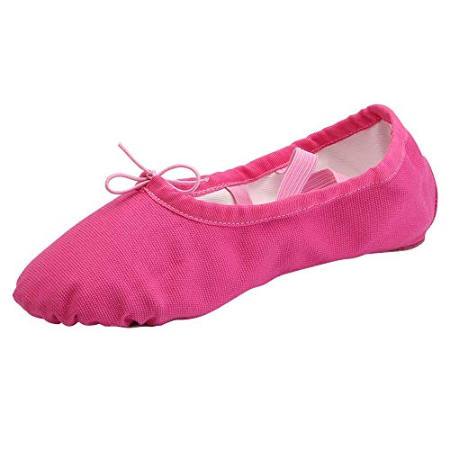 Womens Ballet Dance Shoes Girls Canvas Split Sole Gymnastic Flat Dancing Slippers (11 UK Child, Hot Pink)