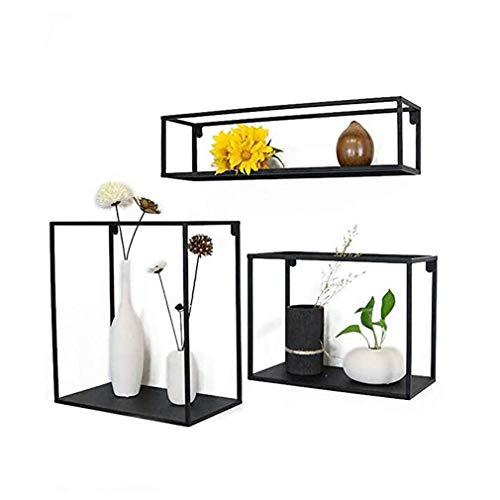 Eisen Wandregal dreiteilige Set Wohnzimmer Schlafzimmer Hintergrund Wand Dekoration Rahmen kreative Bulkhead Shanhua Regal Regal Küche Lagerregal schwarz