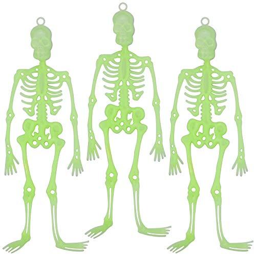 COCOCITY 3 piezas luminosas de Halloween esqueleto colgante de plástico para colgar en la pared, decoración de festivales (tamaño: 34 x 13 cm)