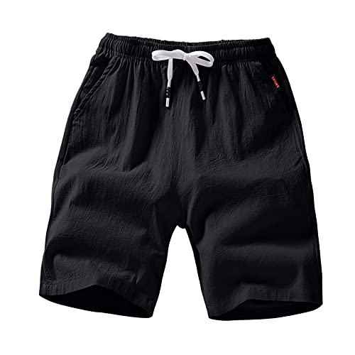 Mens Plus Size Summer Breathable Shorts, 2021 Men Casual Elastic Comfy Trousers Lightweight Fitness Workout Big and Tall Shorts Pure Color Bandage Gym Joggers Shorts Black