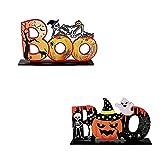 YFT 2Pcs Decoraciones de Mesa Halloween,Adornos De Madera De Halloween,Adornos De Halloween,para decoración de Mesa de Halloween.