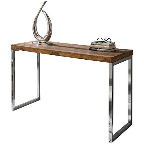 FineBuy Konsolentisch Massivholz Konsole mit Metallbeinen Schreibtisch 120 x 45 cm Landhaus-Stil (Sheesham)